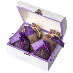 Cutie de lemn handmade cu saculete de lavanda - cod CAD_001